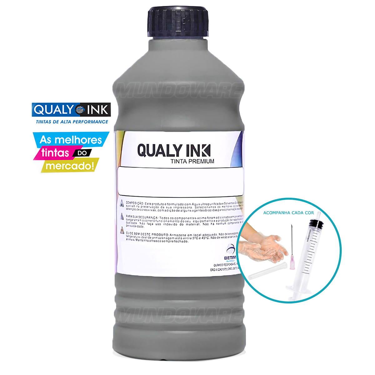 Compatível: Tinta Pigmentada Qualy-Ink BP3E-1532 Série 673 para Epson L800 L805 L810 L850 L1800 Preto 1L