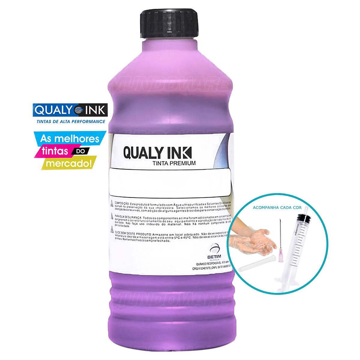 Compatível: Tinta Pigmentada Qualy-Ink LMP3E-1549 Série 673 para Epson L800 L805 L810 L850 L1800 Magenta Light 1L