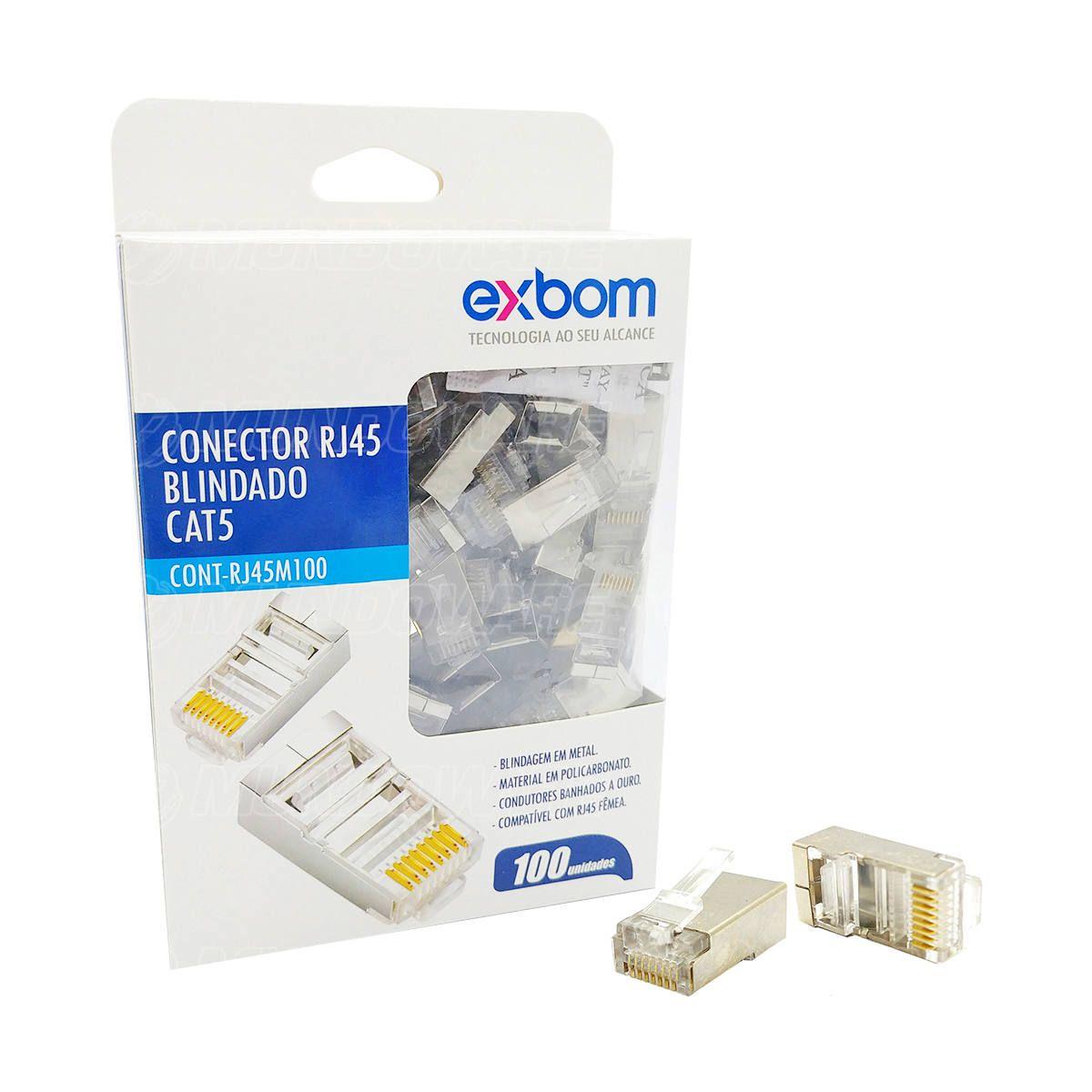 Conector de Rede RJ45 CAT5 8P8C Blindagem em Metal Ethernet Lan Exbom RJ45M100 / Caixa com 100 Unidades