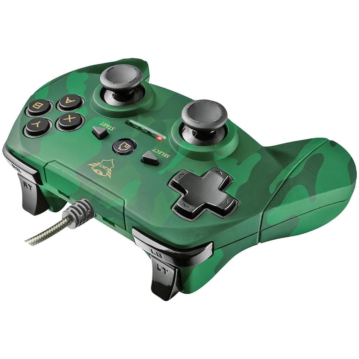 Controle Gamepad para PC com 13 botões 2 Joysticks D-pad Cabo de 3 metros Trust GXT 540C Yula Camuflado