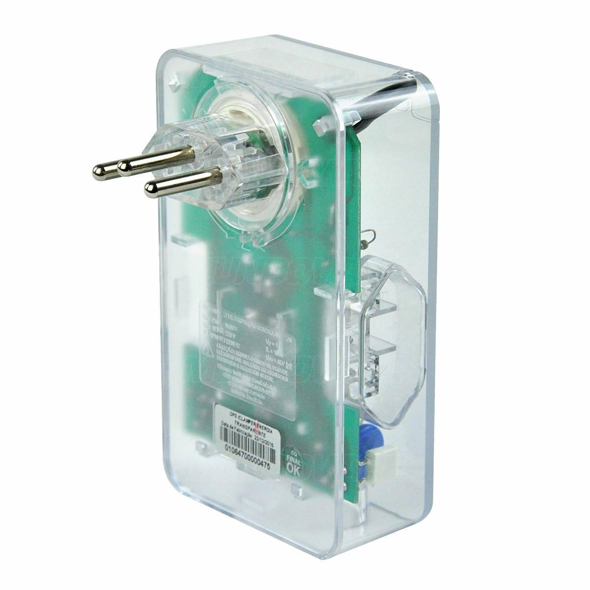 DPS 3 Tomadas e Plugue Giratório 180° Proteção Contra Raios Surtos Elétricos 10A Bivolt iClamper Energia 3 Transparente