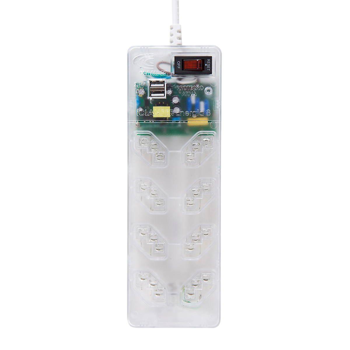 DPS Clamper + Filtro de Linha 8 Tomadas 10A 2 USB Proteção Robusta contra Surtos Bivolt iClamper Energia 8 Transparente