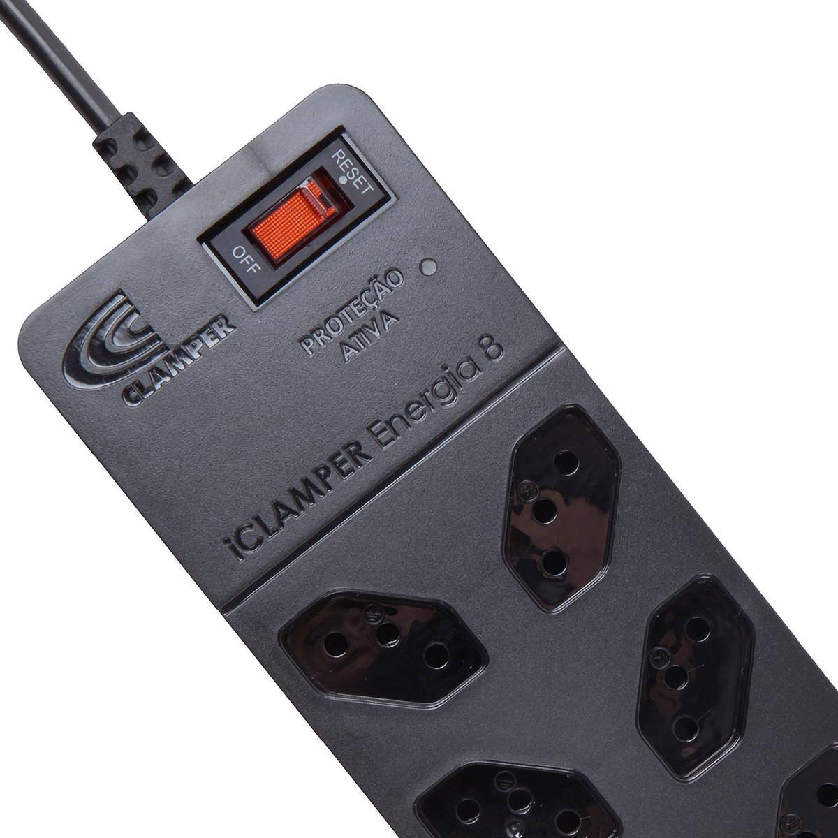 DPS Clamper + Filtro de Linha Bivolt 8 Tomadas 10A Proteção Robusta contra Surtos Elétricos iClamper Energia 8 Preto