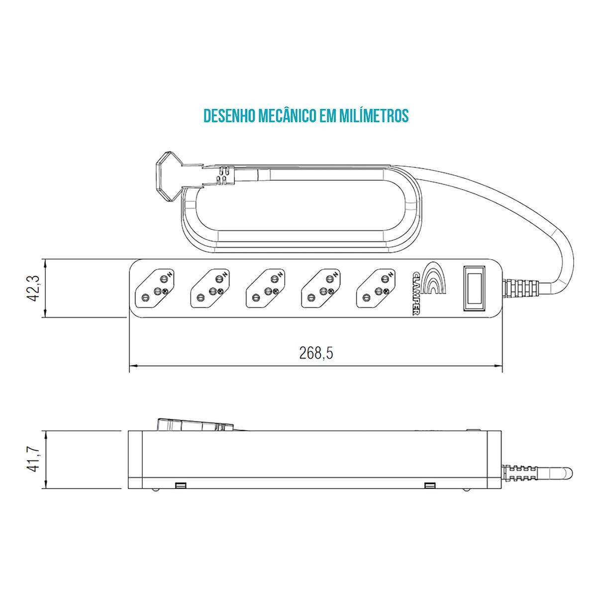 iClamper DPS Energia 5 + Filtro de Linha Bivolt 5 Tomadas Protege contra Sobrecargas e Surtos Elétricos Clamper Preto