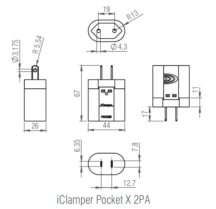 DPS iClamper Pocket X 2PA Plug & Use para Entrada Padrão Brasileiro 2P e Saída (Tomada) Padrão NEMA 2P Transparente