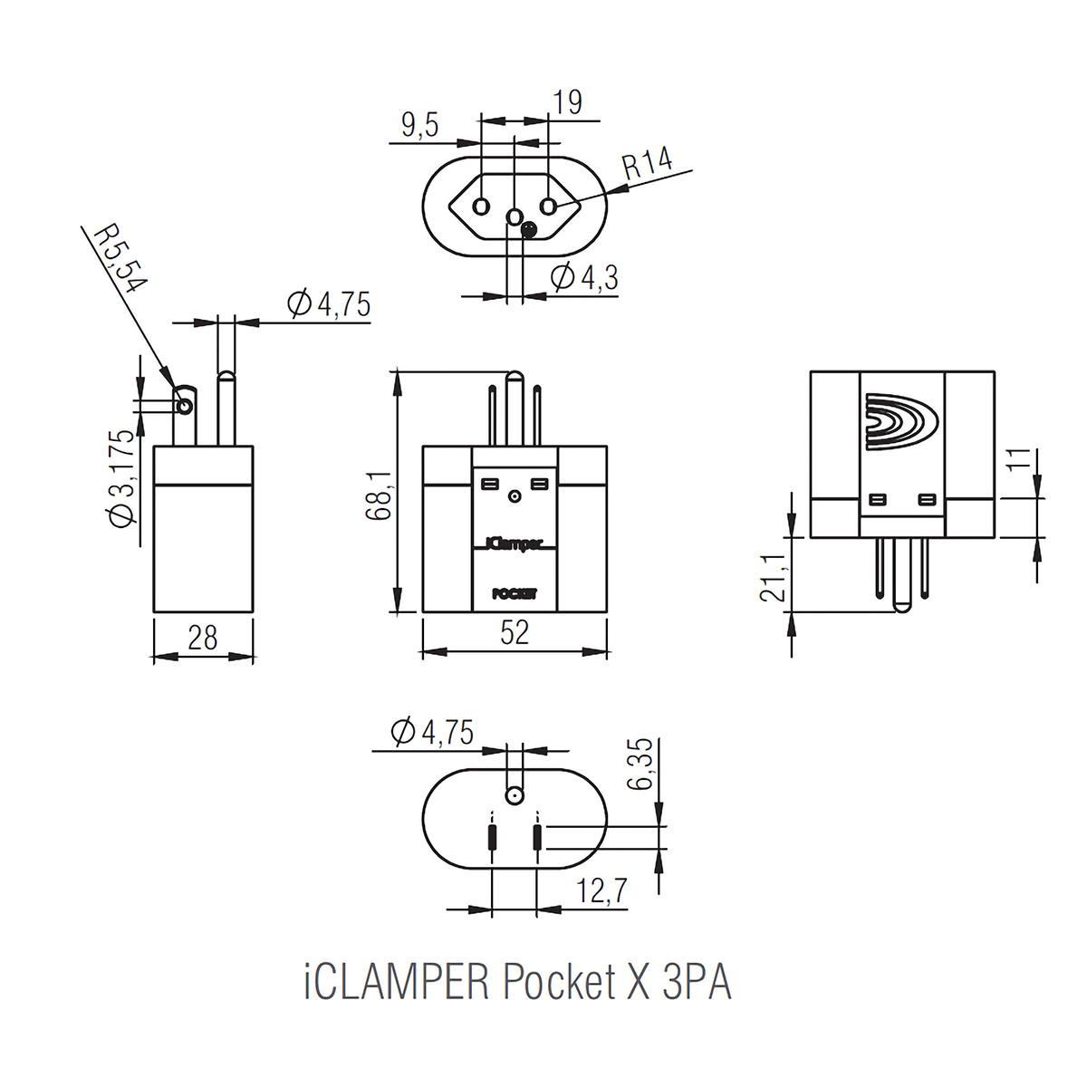 DPS iClamper Pocket X 3PA Portátil para Entrada Padrão Brasileiro 3P e Saída (Tomada) Padrão NEMA 2P+T Transparente