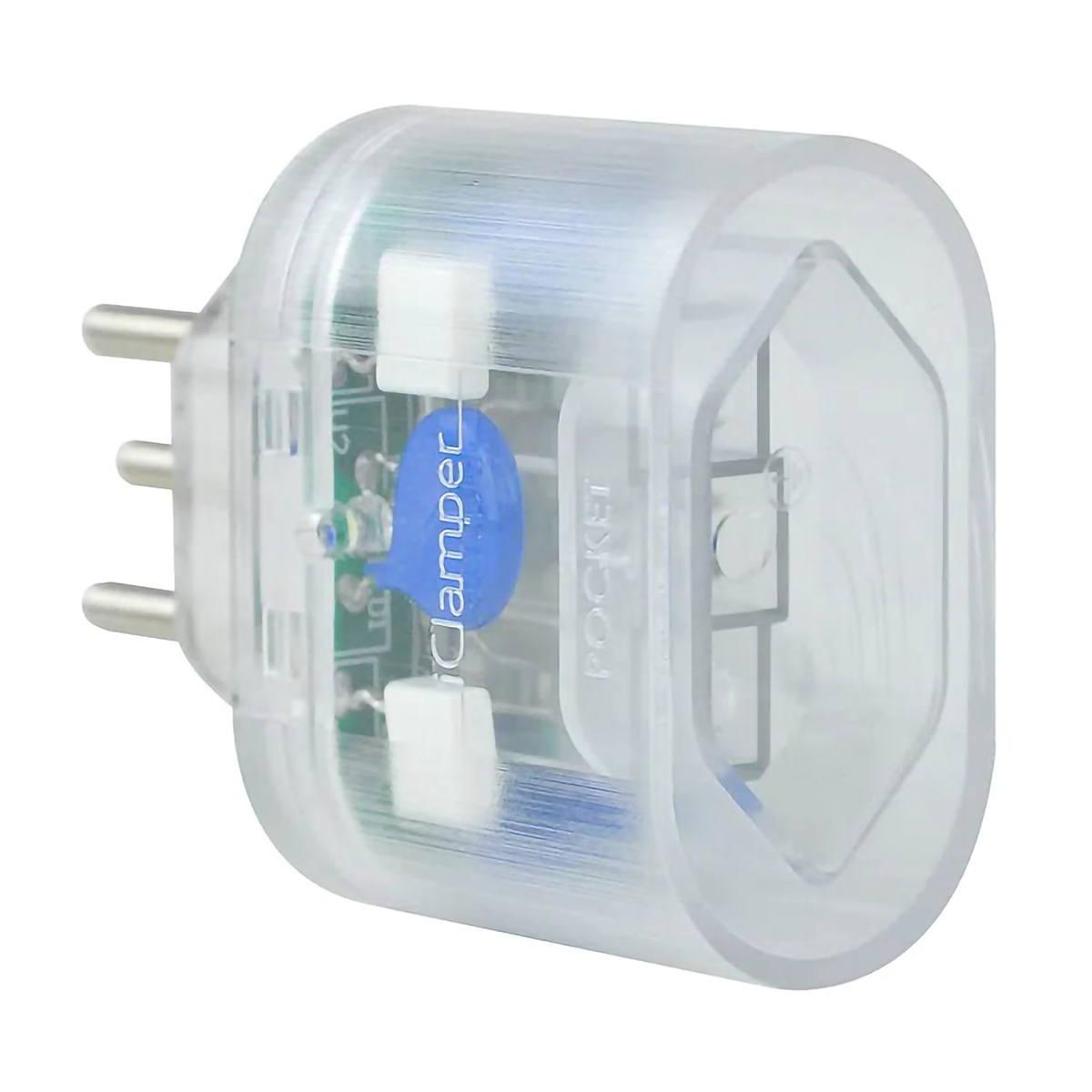 DPS Portátil iClamper Pocket 3 Pinos 10A Proteção contra Surtos Elétricos para Eletroeletrônicos Clamper 3P Transparente