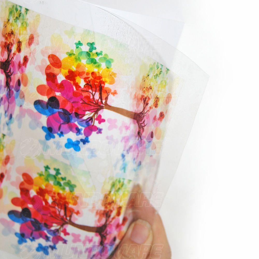 Filme Adesivo Transparente 150g A4 210mmx297mm com Brilho / 10 folhas