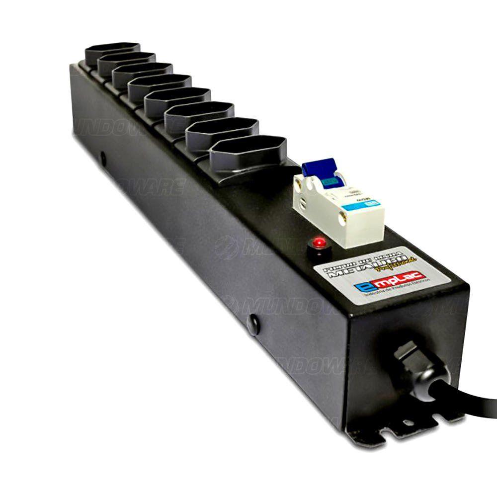 Filtro de Linha com Disjuntor 20A 8 Tomadas Bivolt Gabinete Metálico Profissional Cabo de 1 Metro Emplac F50190