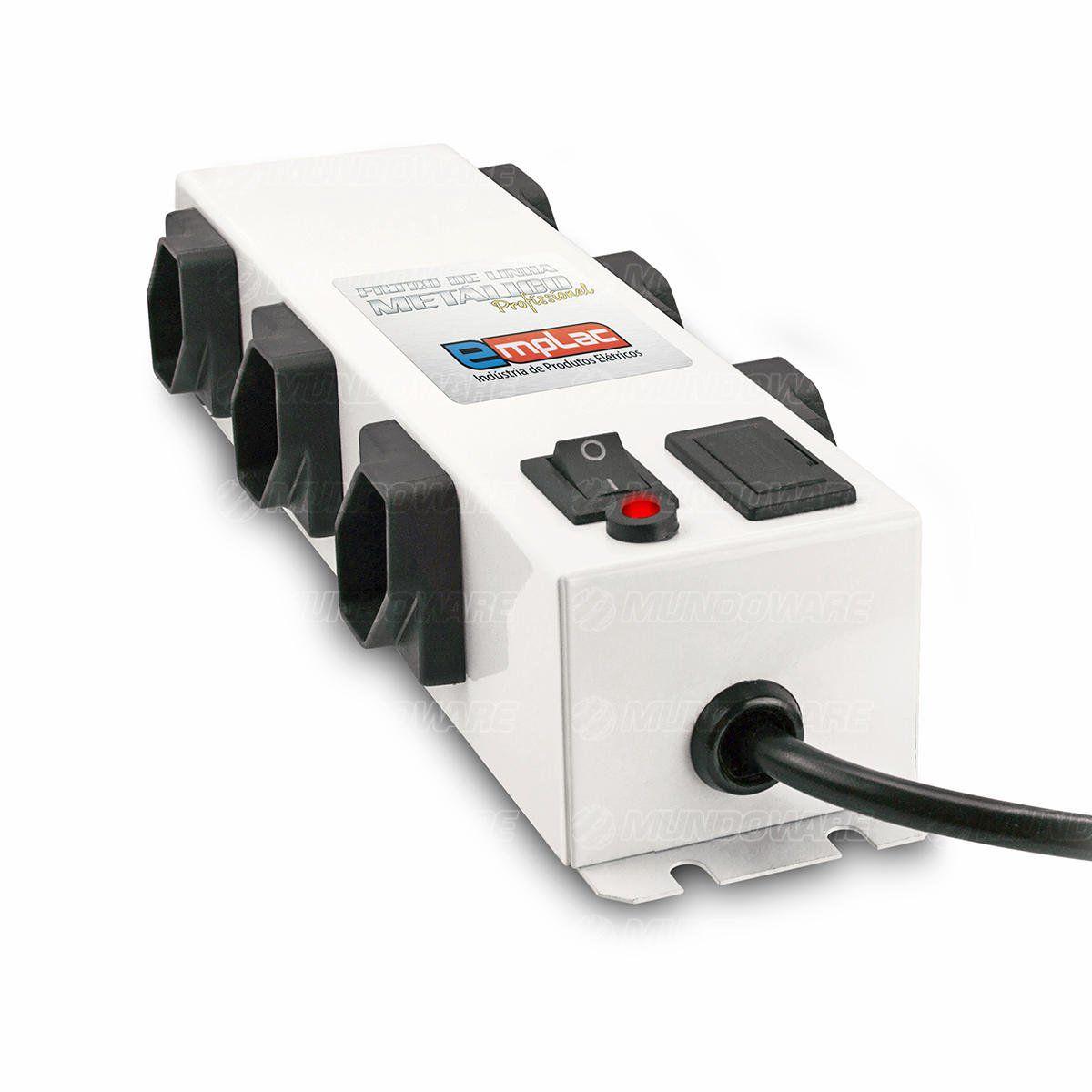 Filtro de Linha Metálico Protetor Eletrônico Profissional Bivolt 6 Tomadas 10A Cabo de 1 metro Emplac F50097
