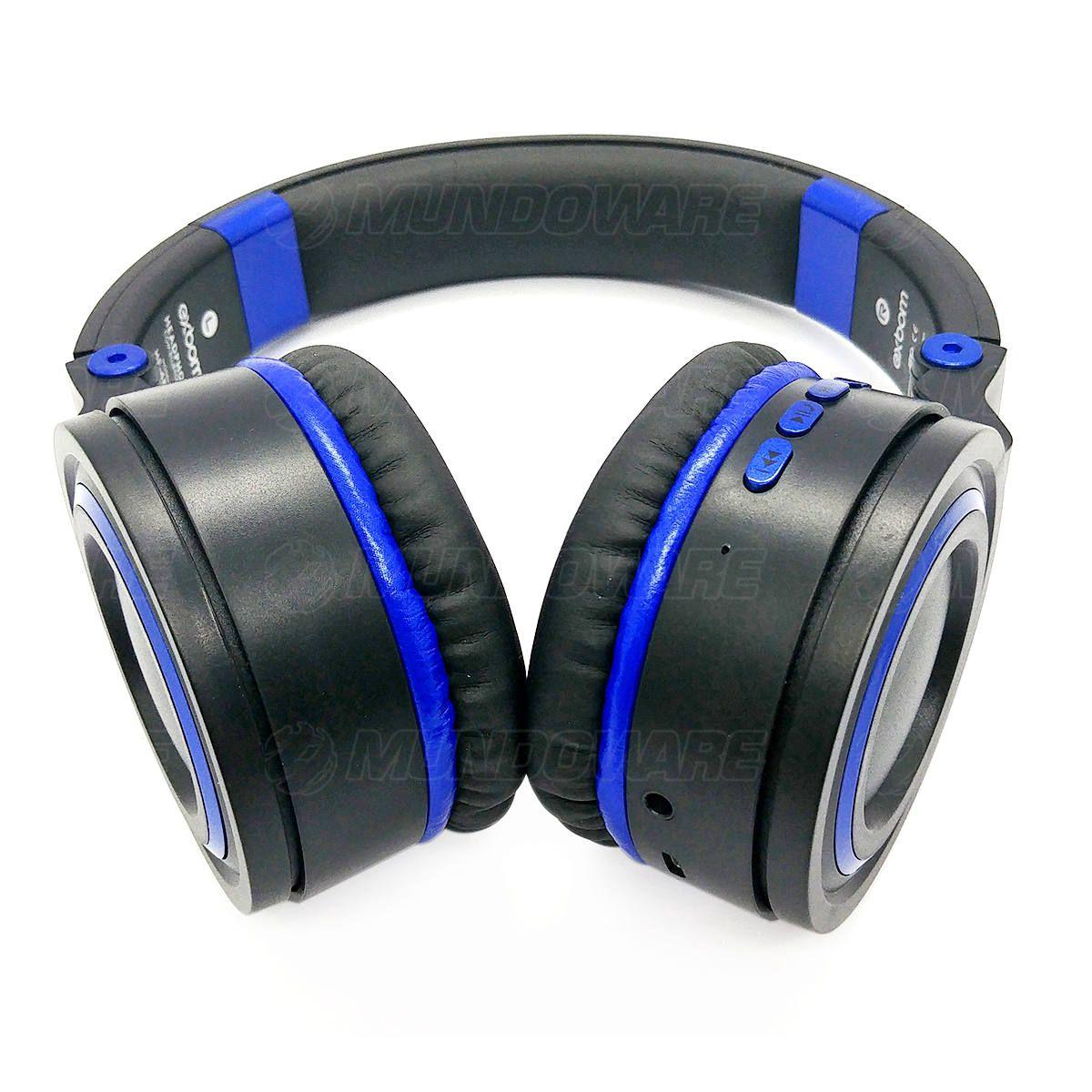 Fone Bluetooth 5.0 Wireless com Alças Dobráveis Headphone Exbom HF-480BT Preto com Azul