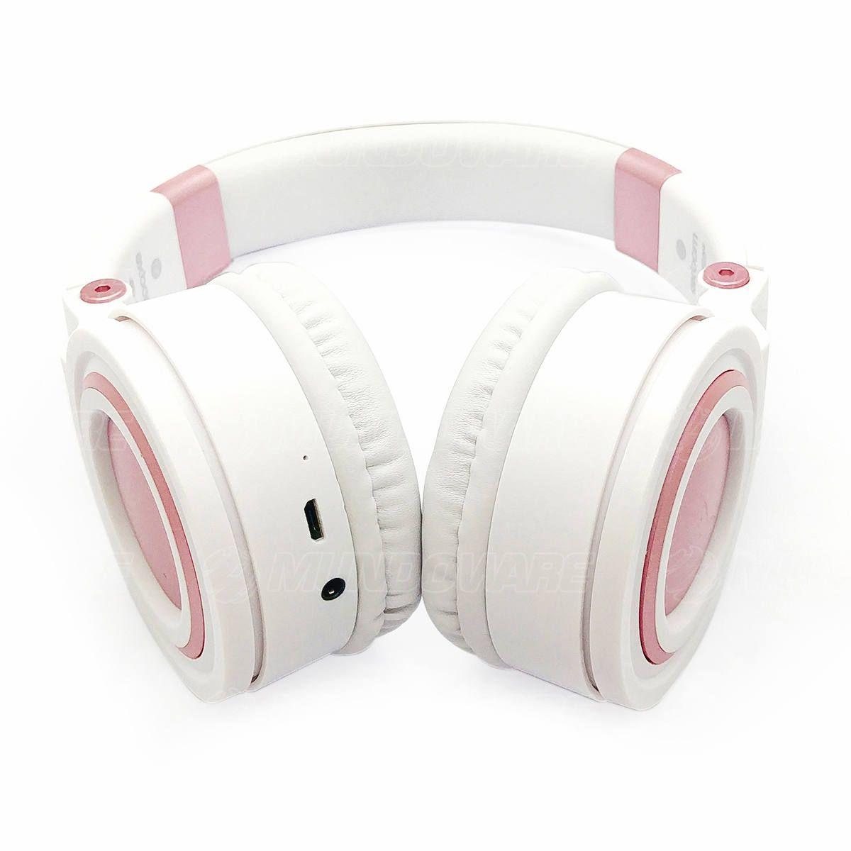Fone de Ouvido Bluetooth 5.0 Wireless com Alças Dobráveis Headphone Exbom HF-480BT Branco com Rosa