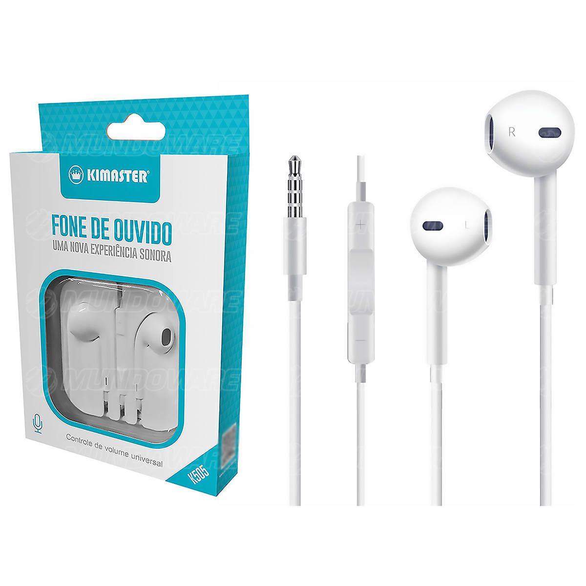Fone de Ouvido Intra-auricular Controle com Microfone Integrado e Ajuste de Volume no Cabo Kimaster K505