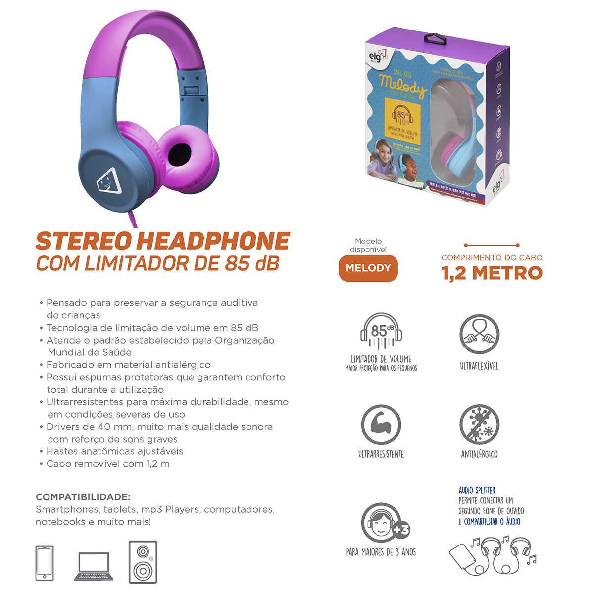 Fone de Ouvido para Crianças com Limitador de Volume Antialérgico Cabo Removível ELG Kids Melody Azul e Rosa