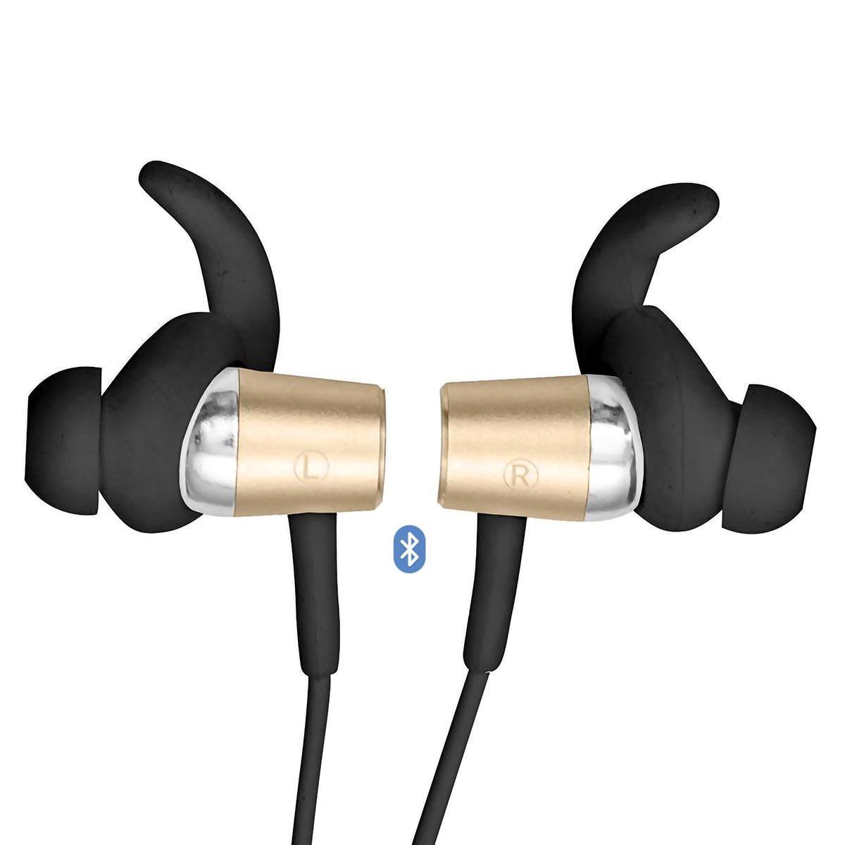 Fone de Ouvido Sport Bluetooth Earphone com Microfone e Controle para Chamadas FB-BT1 Preto com Dourado