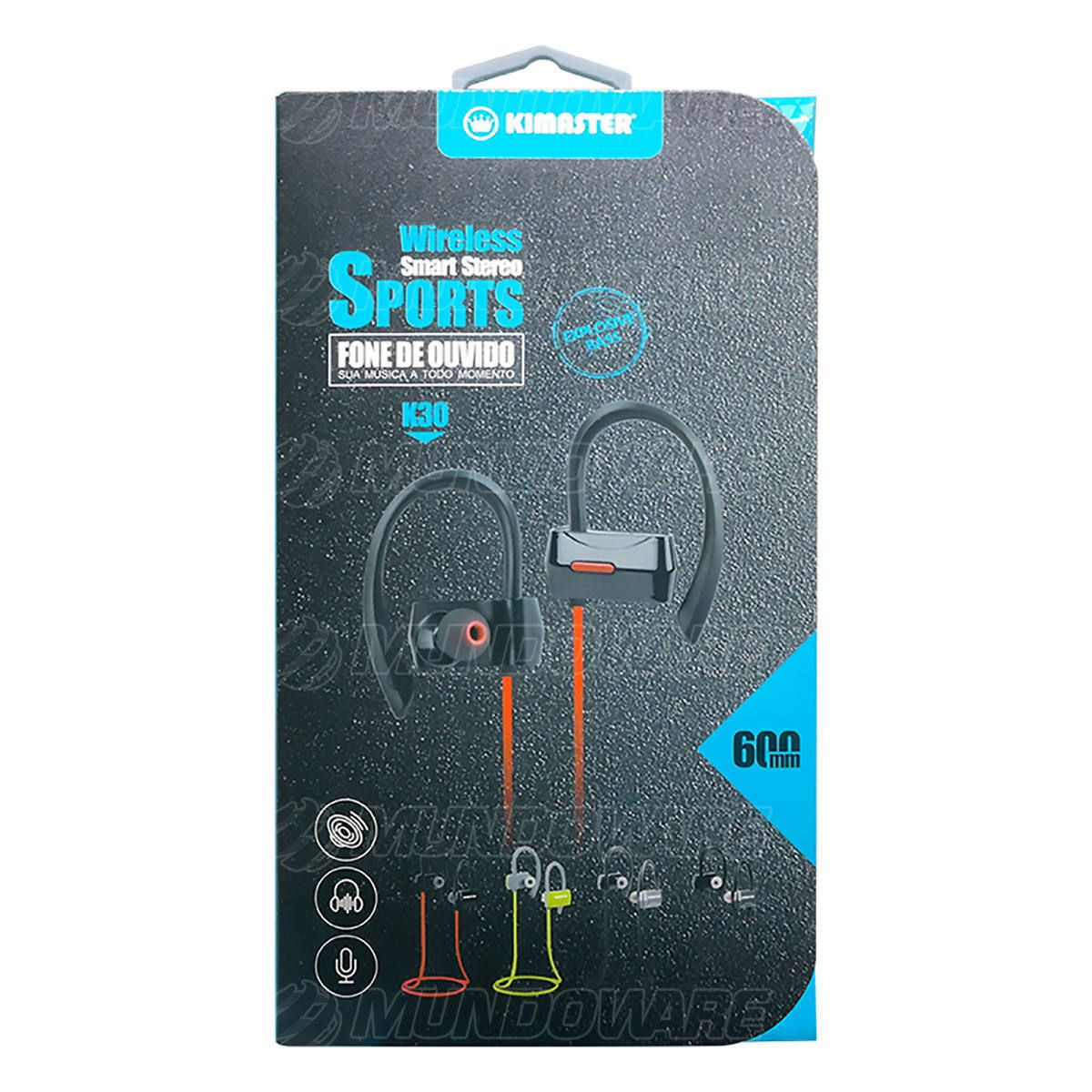 Fone Esportivo Bluetooth 5.0 Wireless Smart Stereo Sports com Áudio HD e Microfone Kimaster K30