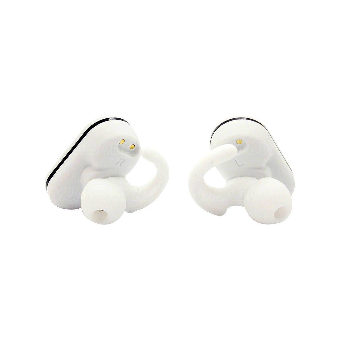 Fone de Ouvido Earbuds Esportivo Bluetooth com Base Carregadora TWS Estéreo Exbom BTWS-ST50 Branco