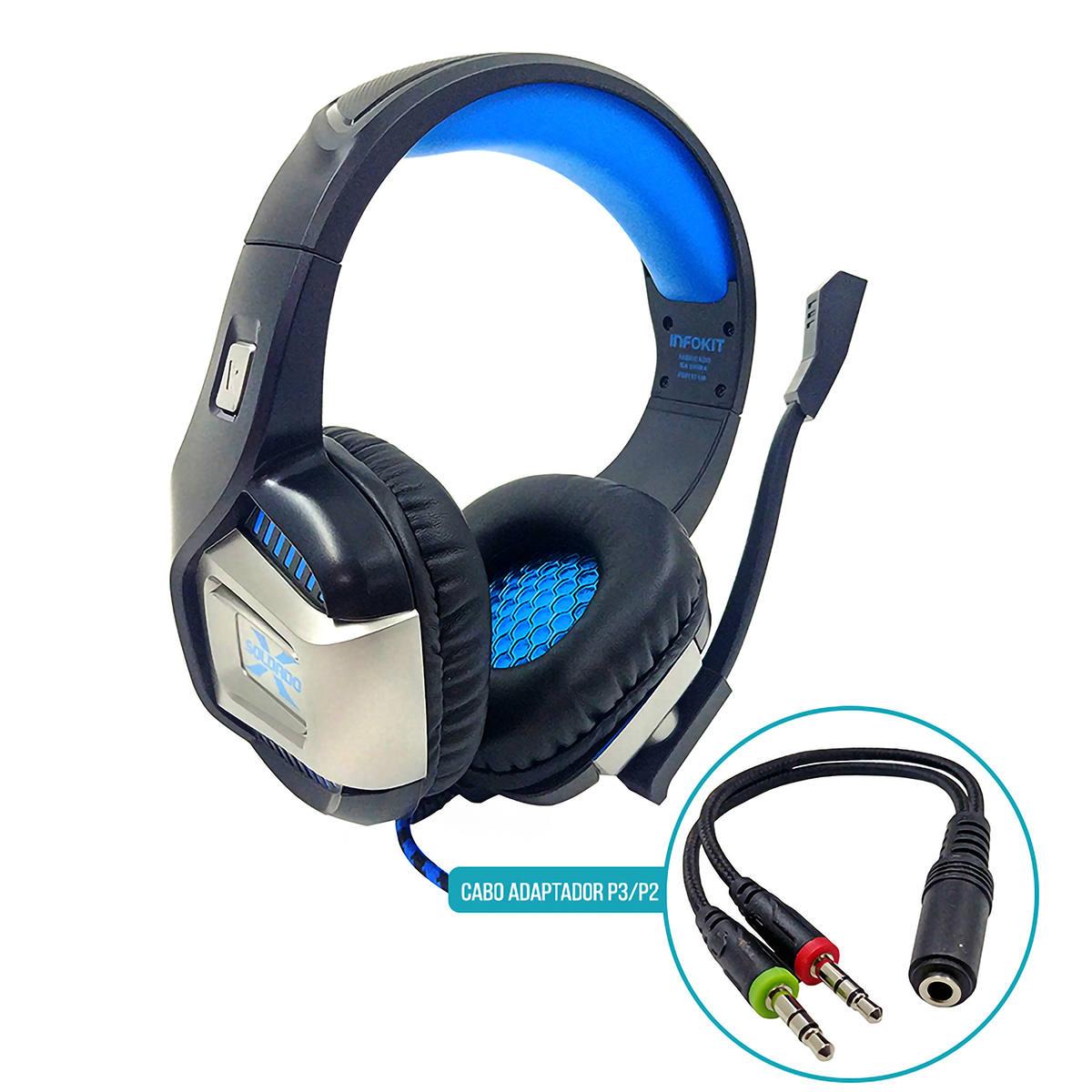 Fone Gamer Flexível 7.1 Surround para Ps4/PC/Celular com Microfone Articulado Cabo 210cm Infokit GH-X1800 Azul