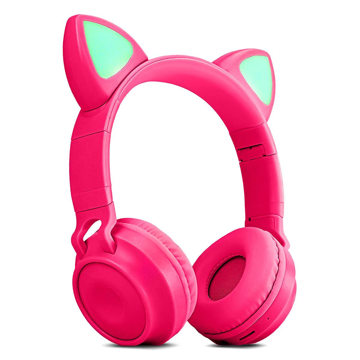 Fone Gatinho com Bluetooth 5.0 Dobrável Iluminação LED em 8 Cores Microfone Embutido Exbom HF-C290BT Pink