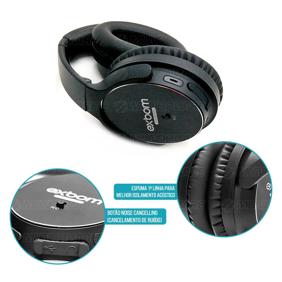 Fone Noise Cancelling Bluetooth Dobrável com Microfone P2 Auxiliar Cancelamento de Ruído Ativo Exbom HF-AR8BT