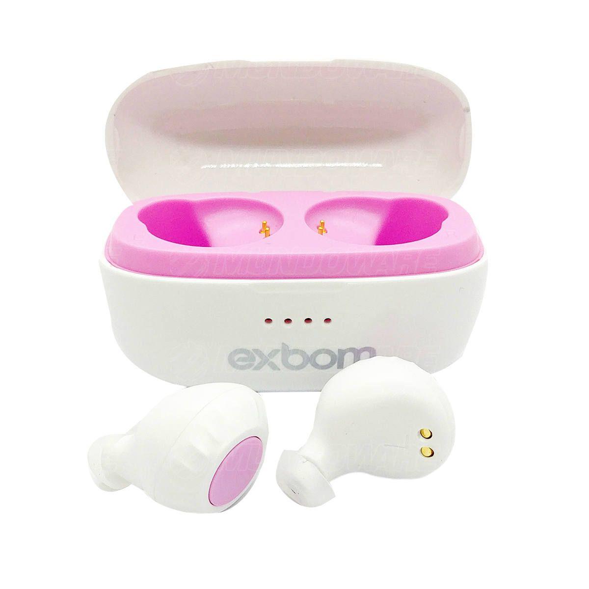 Fone Earbuds Bluetooth TWS Estéreo com Base Carregadora Exbom BTWS-S30 Branco com Rosa