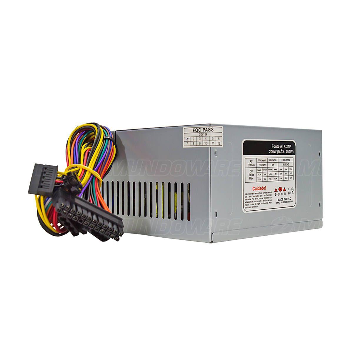 Fonte ATX 200W para Computador Básico com Cabo de Energia