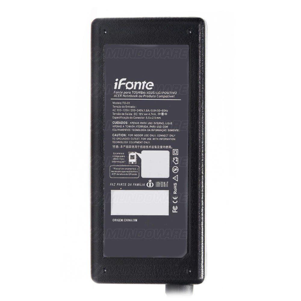 Fonte para Notebook iFonte TO-01 Compatível para Toshiba Asus Acer 90W 19V 4.74A Bivolt Conector 5.5 x 2.5mm
