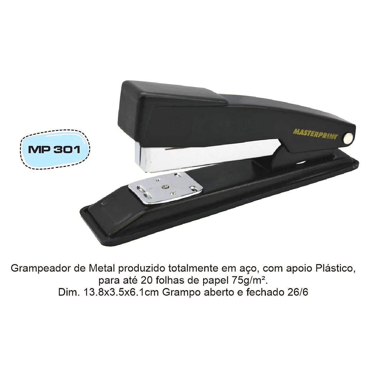Grampeador de Mesa Metálico 13,5cm Grampos 26/6 para até 20 Folhas Masterprint MP301