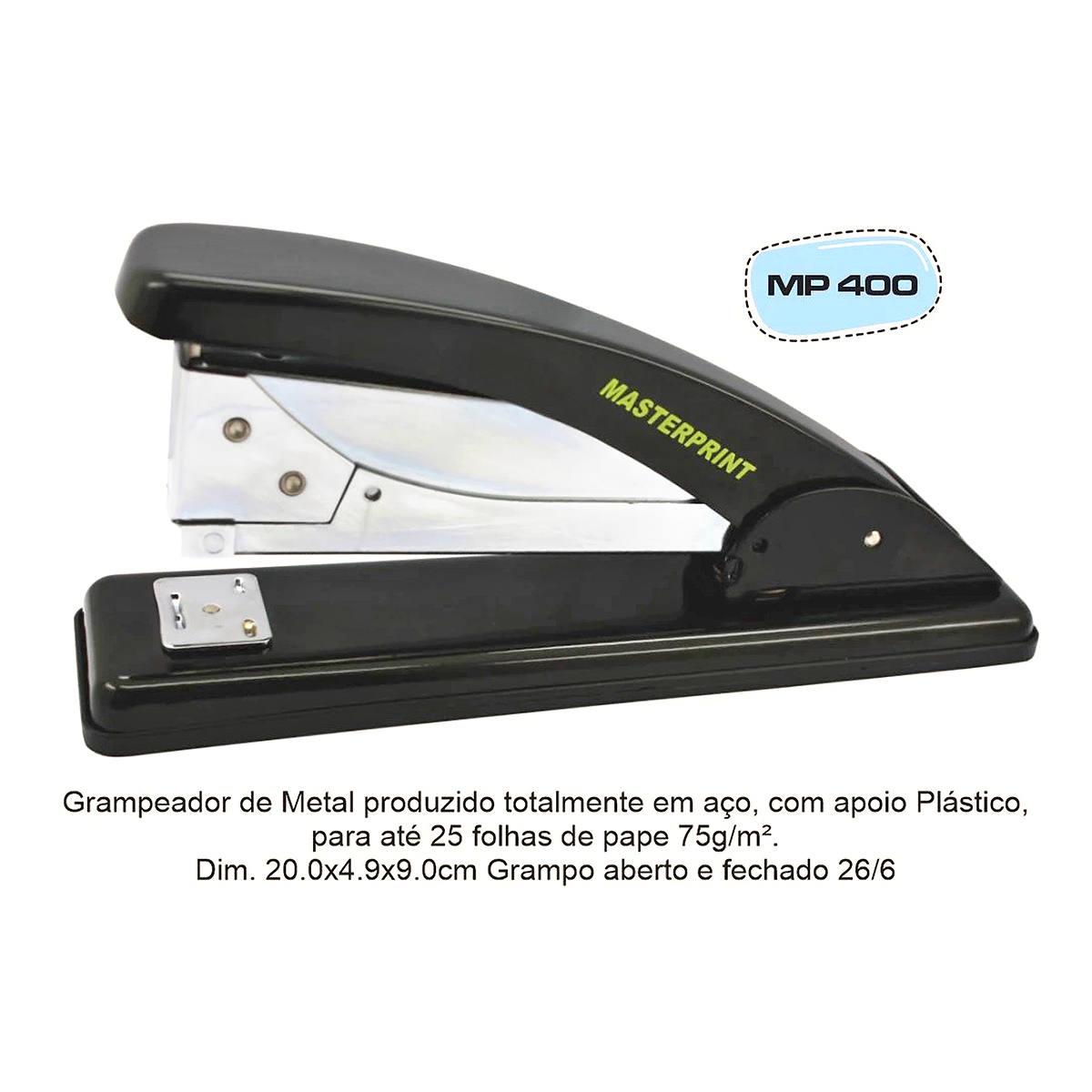 Grampeador Grande de Metal 19,5cm Grampos 26/6 para até 25 Folhas Masterprint MP400