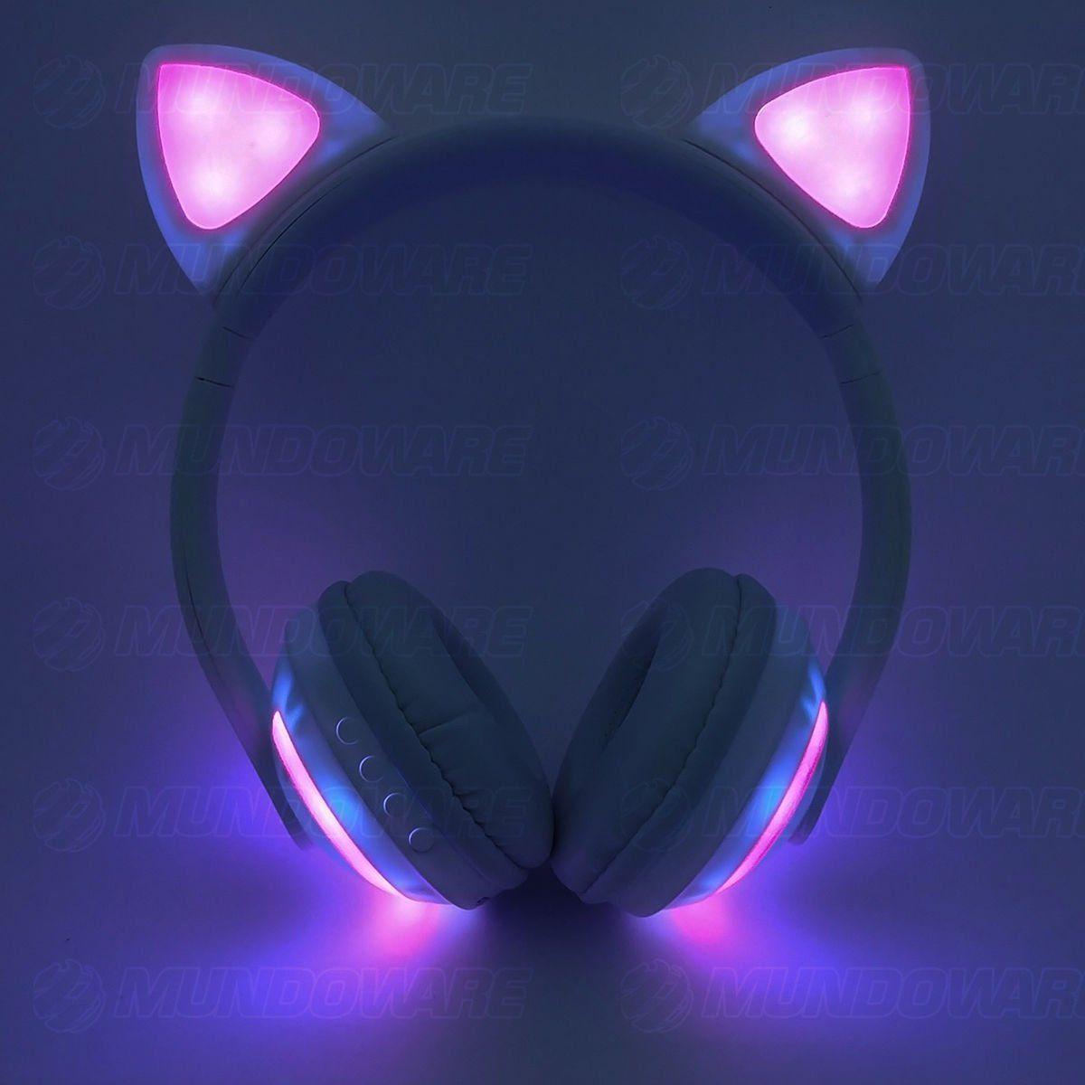 Headphone Bluetooth com Orelhas de Gato e Iluminação LED Fone Sem Fio de Gatinho Exbom HF-C240BT Branco