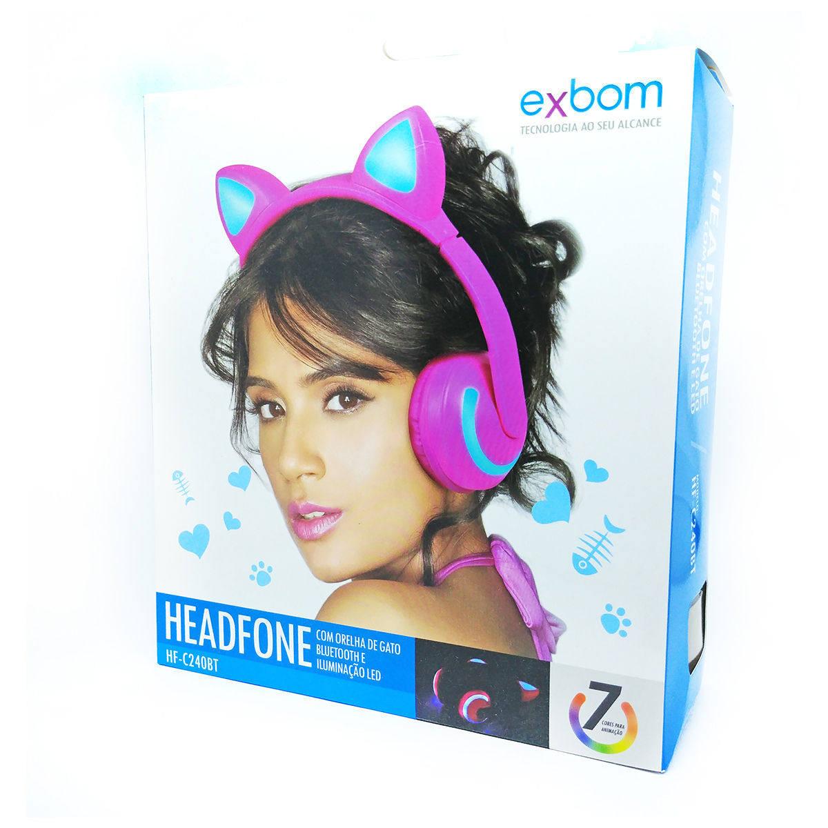 Headphone Bluetooth com Orelhas de Gato e Iluminação LED Fone Sem Fio de Gatinho Exbom HF-C240BT Preto