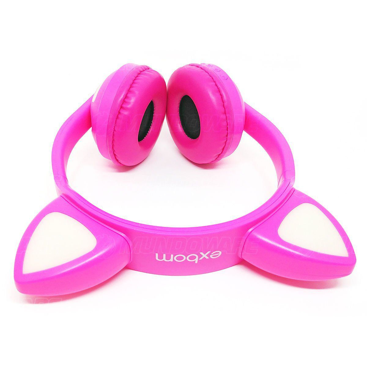 Headphone Bluetooth com Orelhas de Gato e Iluminação LED Fone Sem Fio de Gatinho Exbom HF-C240BT Rosa