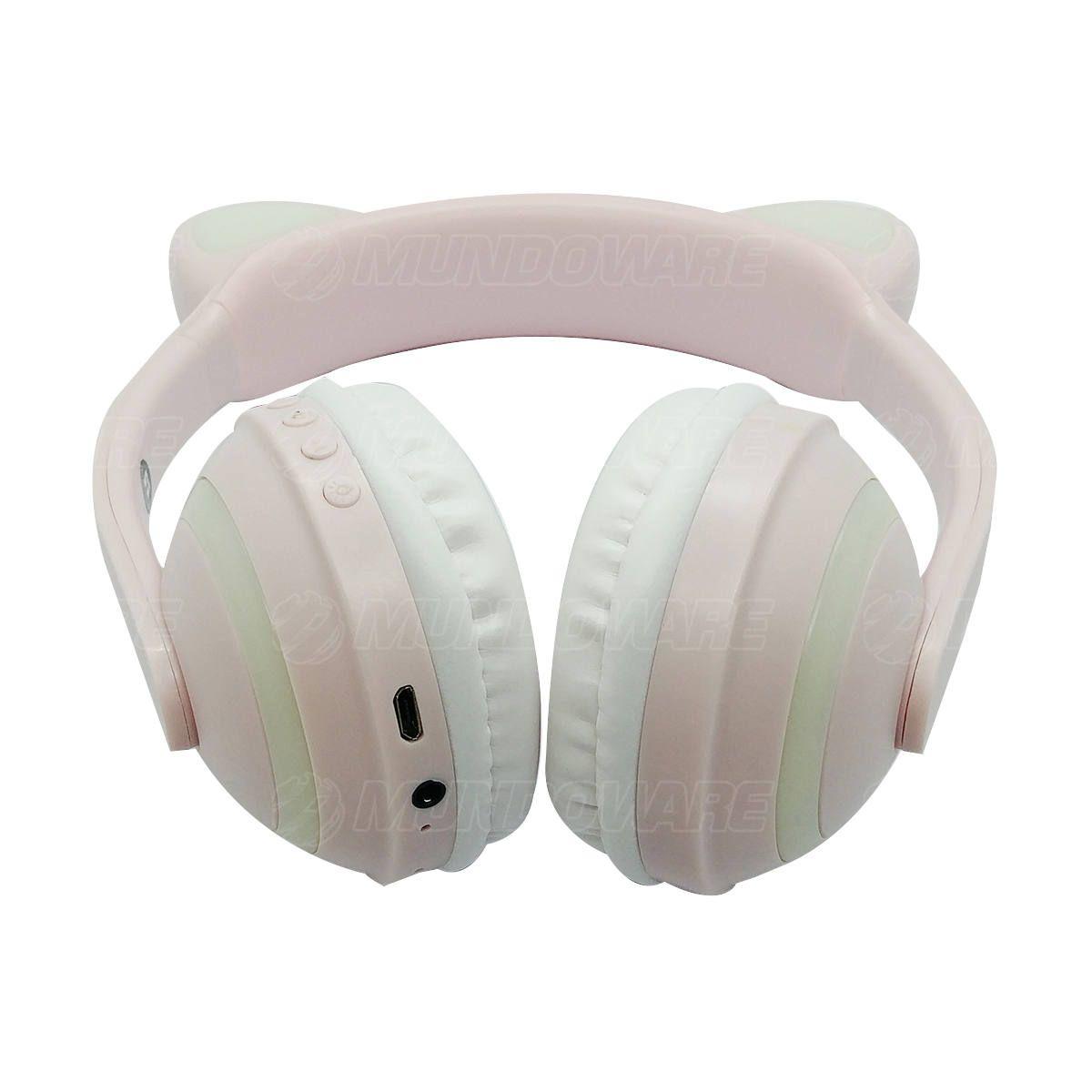 Headphone Bluetooth com Orelhas de Gato e Iluminação LED RGB Fone Sem Fio de Gatinho Exbom HF-C240BT Rosa Claro