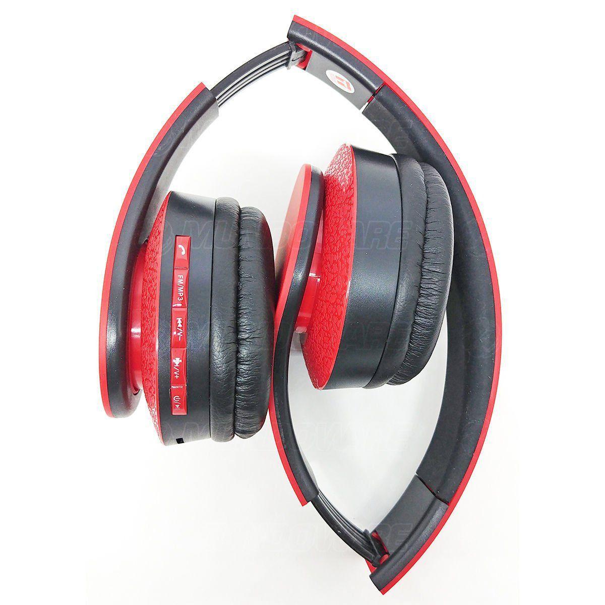 Headphone Bluetooth Dobrável com Rádio FM Cartão Micro SD Fone Sem Fio Estéreo Exbom HF-400BT Vermelho