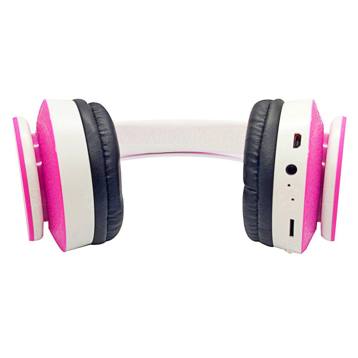 Headphone Bluetooth Dobrável com Rádio FM Micro SD P2 Fone Sem Fio Estéreo Exbom HF-400BT Rosa com Branco