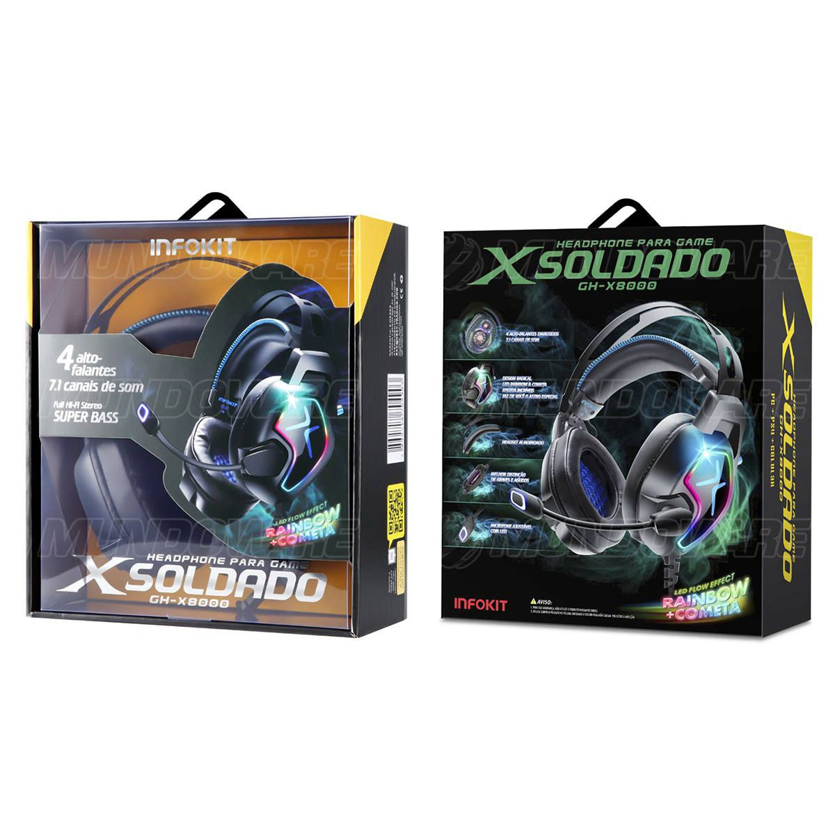 Headphone Gamer 4 Alto-falantes 7.1 Surround Super Bass Quadriplo Microfone Anti-Ruído p/ PC PS4 Celular XSoldado X8000