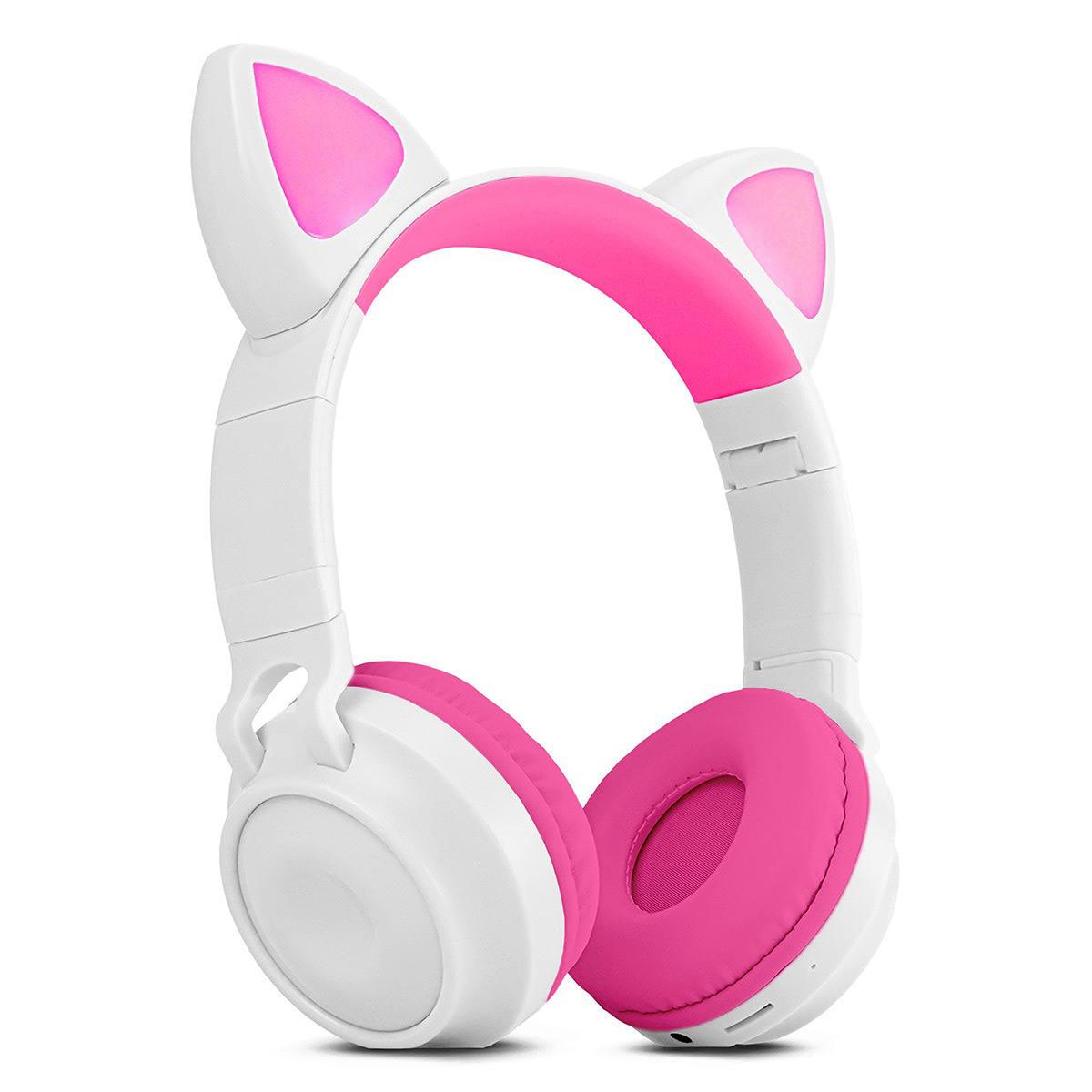 Headphone Gatinho com Bluetooth 5.0 Dobrável Iluminação LED em 8 Cores Microfone Embutido Exbom HF-C290BT Branco