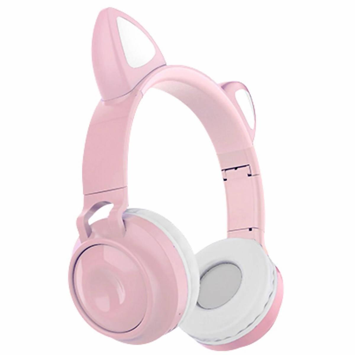 Headphone Gatinho com Bluetooth 5.0 Dobrável Iluminação LED em 8 Cores Microfone Embutido HF-C290BT Rosa