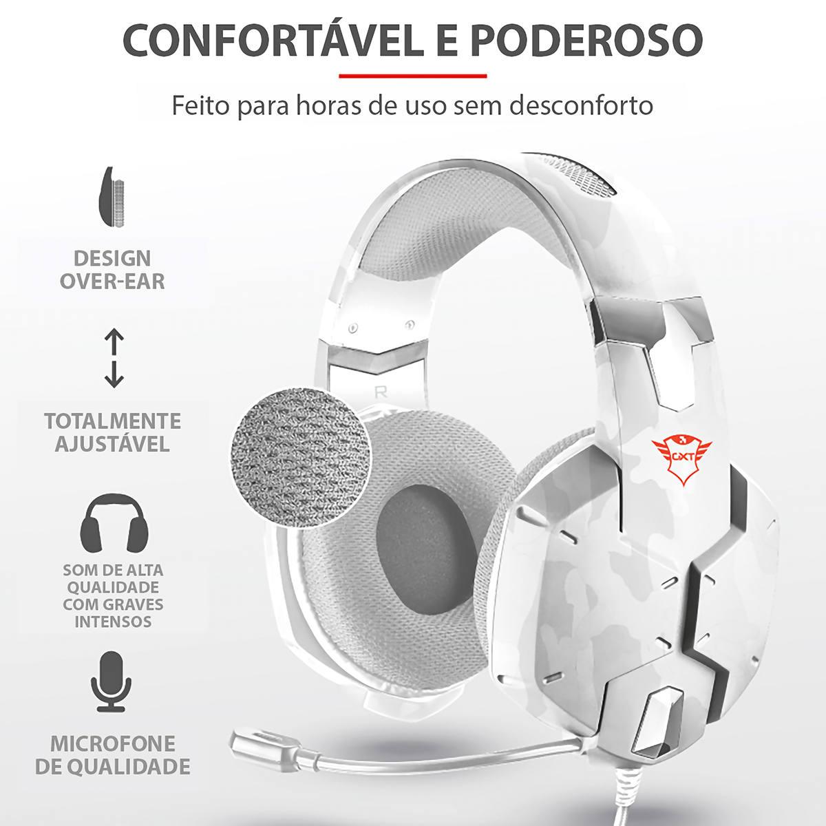Headset Gamer Carus Multiplataforma Som Potente Drivers 50mm Cabo 2m Trust GXT 322W Snow Camo Branco Camuflado