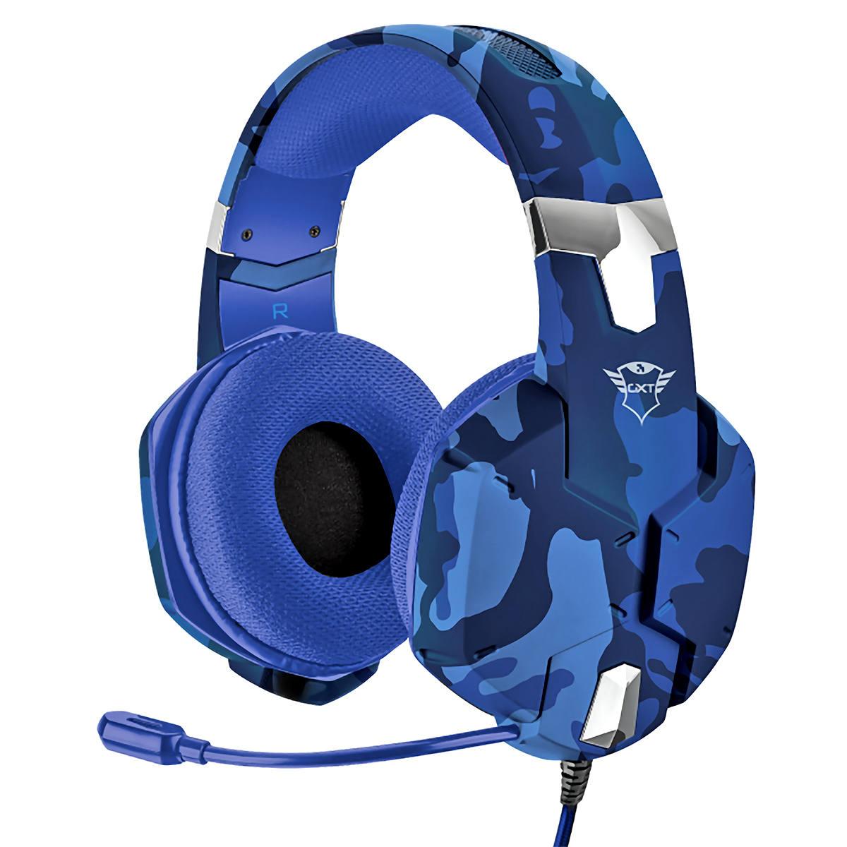 Headset Gamer Carus para PC PS4 PS5 Alta Qualidade com Graves Poderosos Trust GXT 322B Azul Camuflado