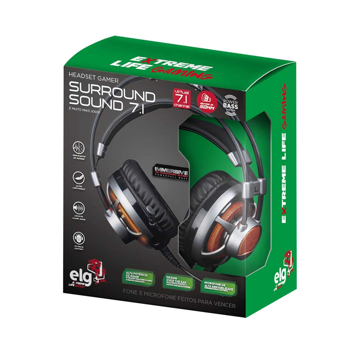Headset Gamer Extreme 7.1 Surround com Microfone LED Laranja Drivers 50mm Cabo 2,2 Metros para PC PS4 ELG HGSS71