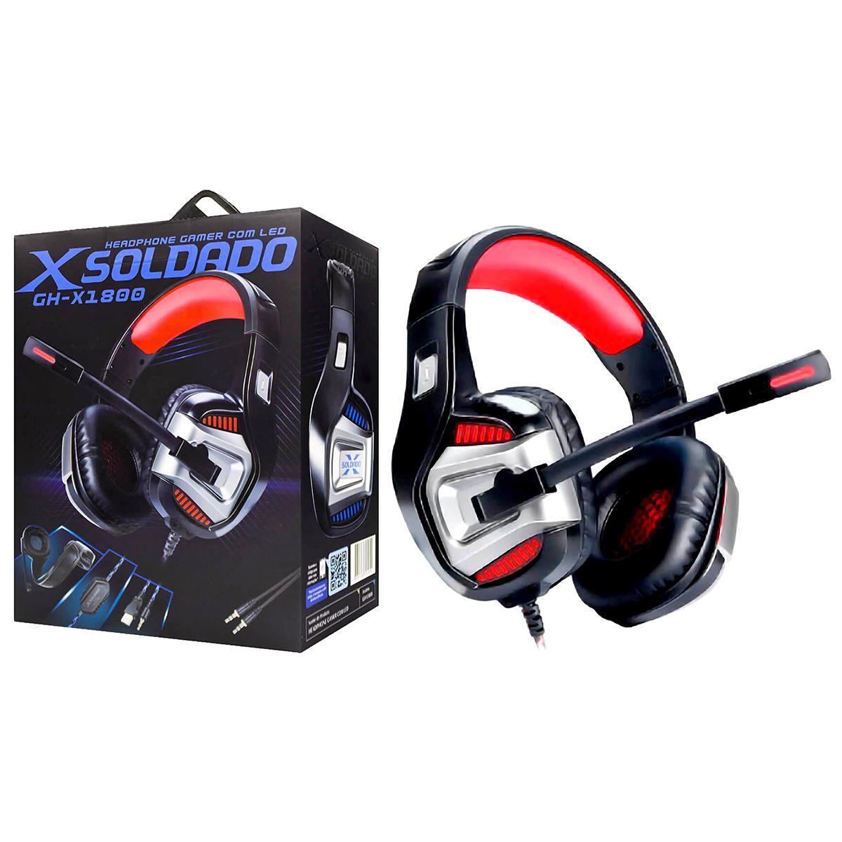Headset Gamer Flexível 7.1 Surround para Ps4/PC/Celular com Microfone Articulado Infokit GH-X1800 Vermelho