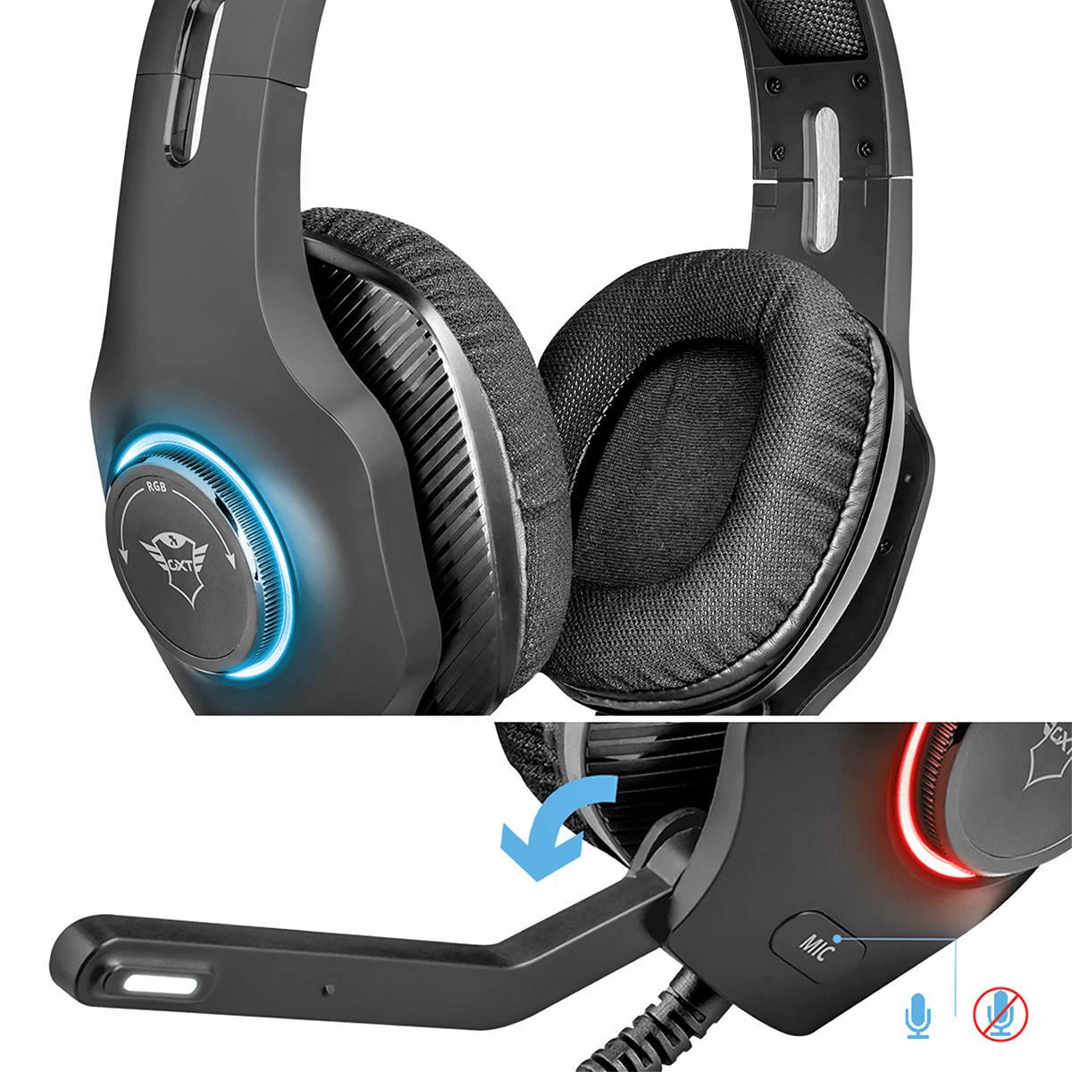 Headset Gamer Torus Som Potente Iluminação RGB Personalizável Microfone Rebatível Cabo 2.2m Trust GXT 455
