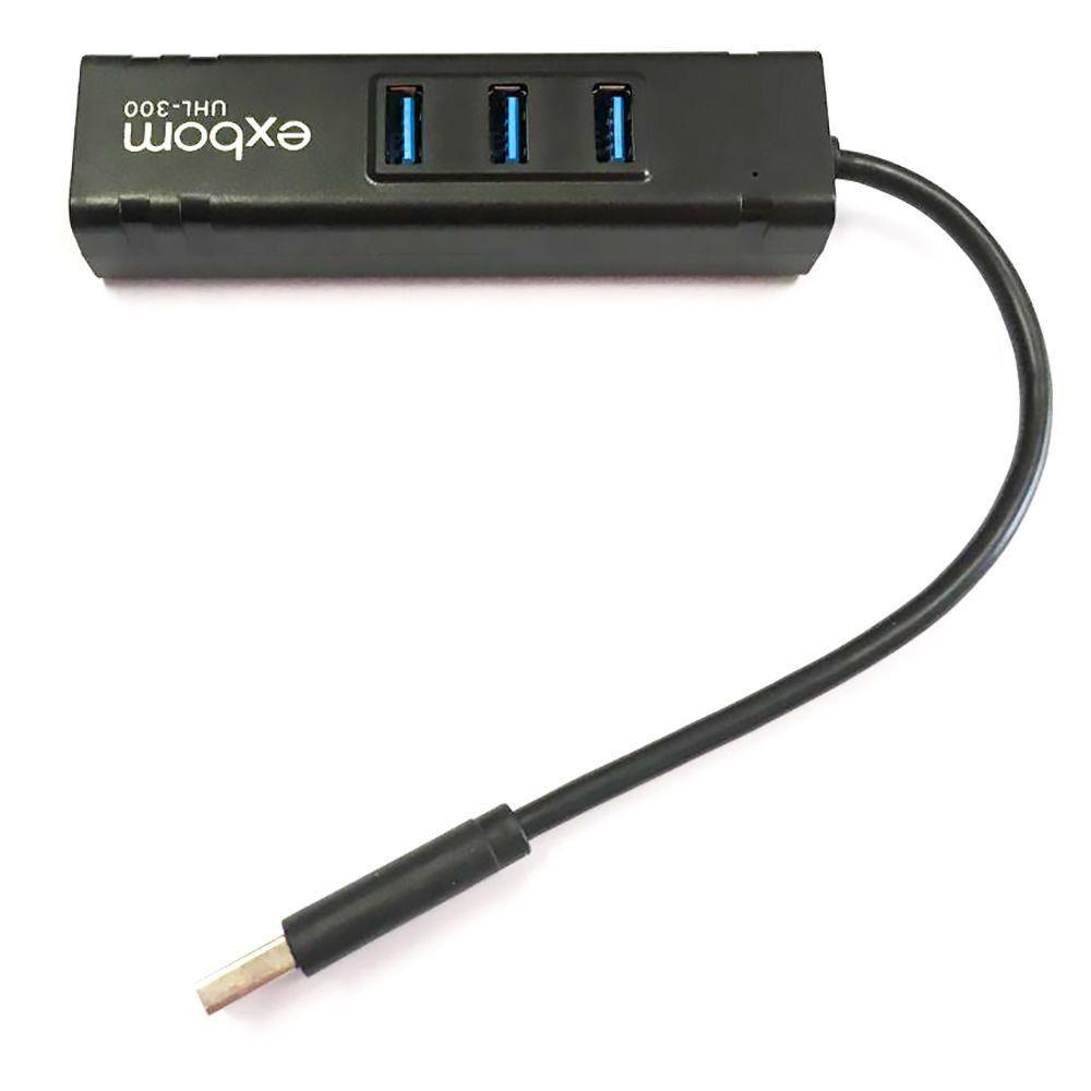 Hub USB 3.0 com 3 Portas + Adaptador USB para Rede Cabeada Ethernet Gigabit Exbom UHL-300