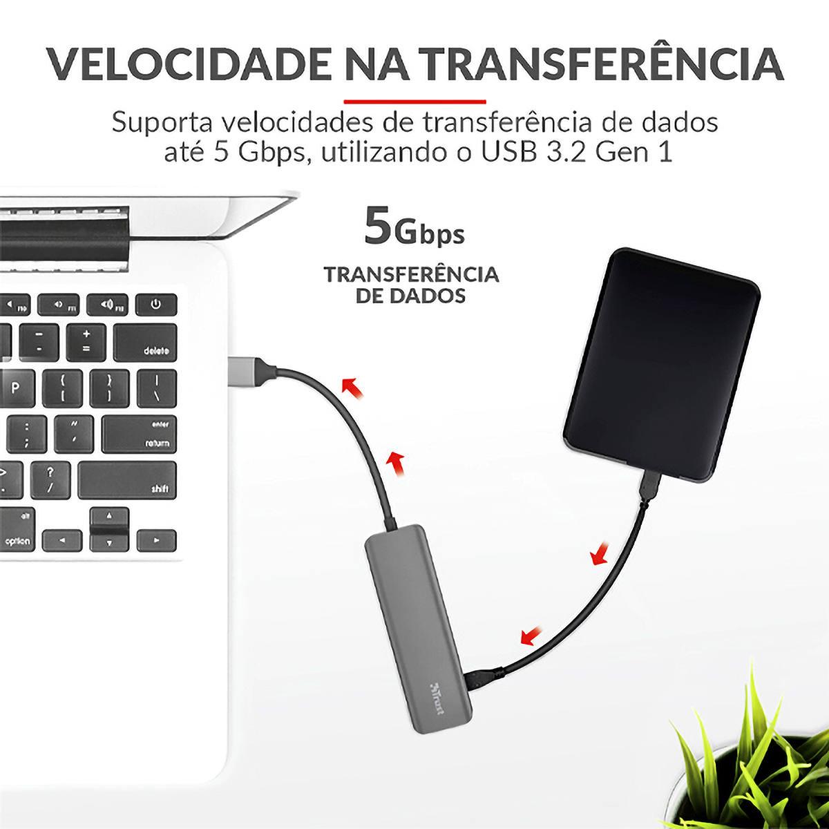 Hub USB Tipo-C para 4 portas USB-A 3.2 Velocidade até 5Gbps Halyx Aluminium Trust