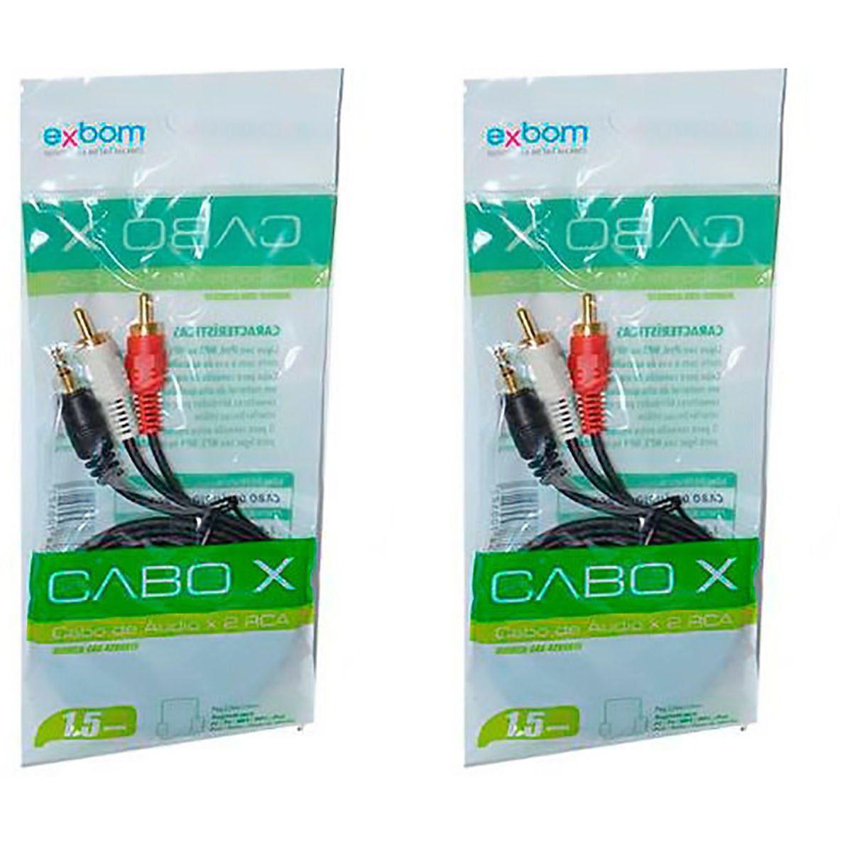 Kit 2x / Cabo de Áudio P2 x 2 RCA 1.5 Metros com Ponta Dourada Exbom CBX-A2RCA