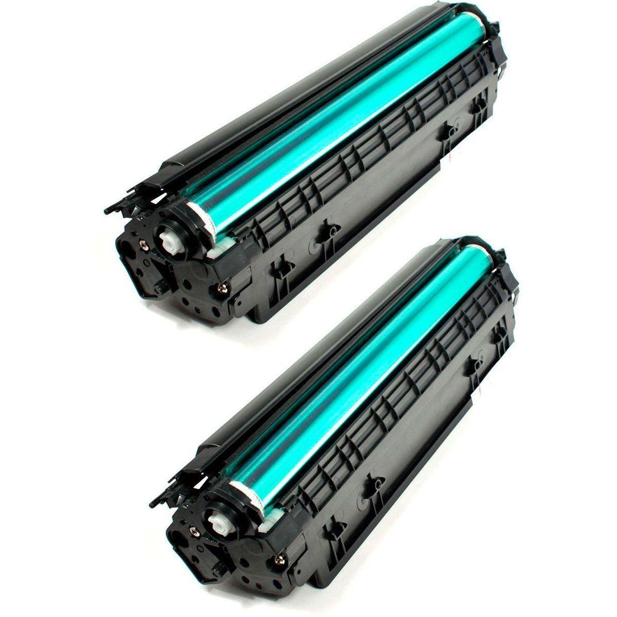 Compatível: Kit 2x Toner 435A 436A 285A para HP P1102w P1102 M1132 M1210 M1212 P1005 P1006 P1505 M1120 / Preto / 1.800