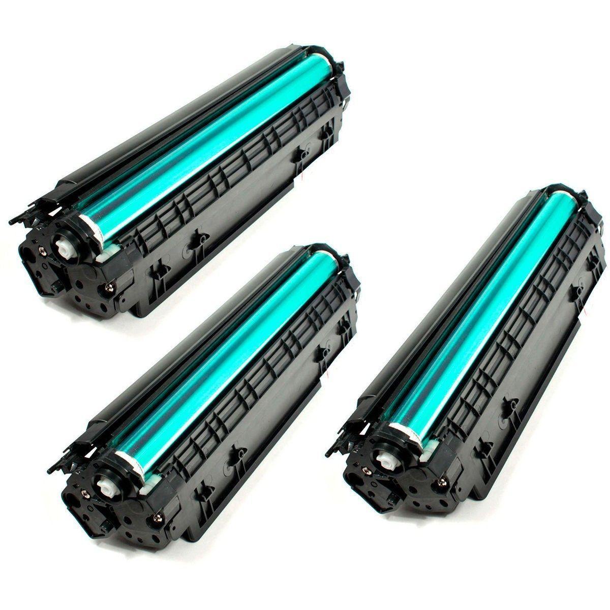 Compatível: Kit 3x Toner 285A 85A para HP M1212 P1102 P1102w P1109w M1130 M1132 M1217fw M1212nf 1109w / Preto / 1.800