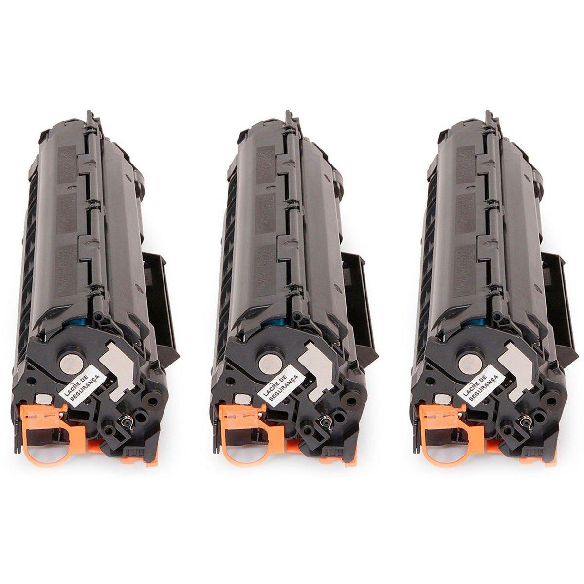 Compatível: Kit 3x Toner 35A 36A 85A para HP M1132 M1212 P1005 P1006 P1505 M1120 1102W P1102W P1102 / Preto / 1.800