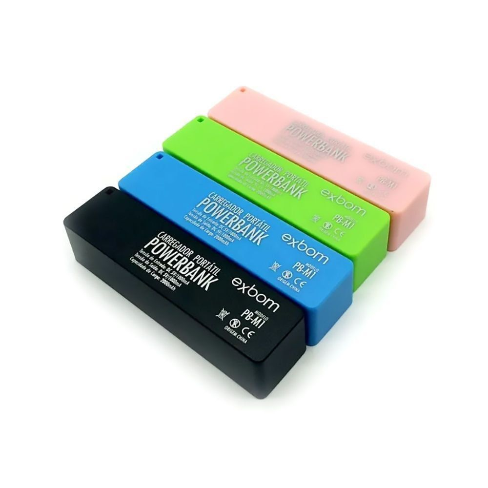 Kit Colorido com 4 Power Bank de Bolso 2000mAh Bateria Portátil Exbom PB-M1 Preta Rosa Verde Azul